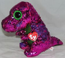 1f66a525e75 Ty Beanie Babies 36431 Flippables Medium Stompy The Pink Dinosaur T Rex  Sequin