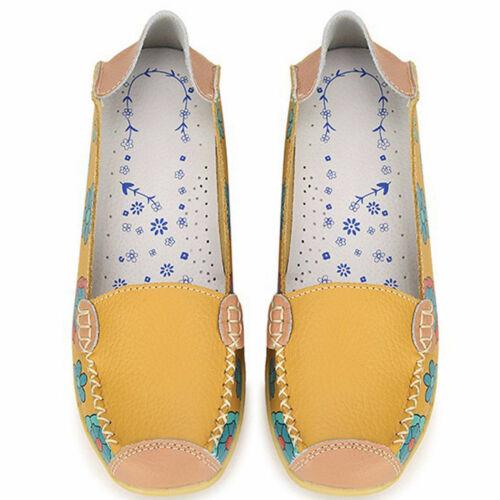 Plats Fleur Souple Floral Cuir Femmes Ballet Chaussures Mocassin En wSRqxEH5