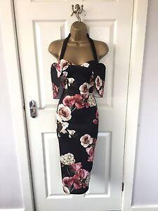 Black-Floral-Cape-Bodycon-Halter-Neck-Evening-Party-Summer-Occasion-Midi-Dress