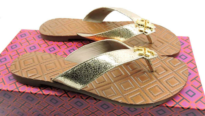 Tory Burch MONROE Thongs Thongs Thongs Sandasl or Leather Quilted chaussures Flip Flop 7.5 79e366