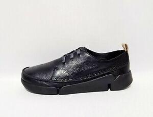 Clarks Tri Clara Black Leather Shoes UK 6 E Wide Fit Trigenic Comfort