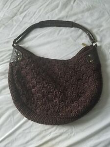 Image Is Loading The Sak Large Brown Crochet And Leather Shoulder