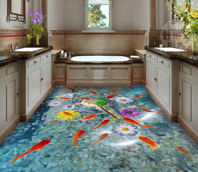 3D rojo fishs DAISYS 5 Piso impresión de parojo de papel pintado mural 5D AJ Wallpaper Reino Unido Limón
