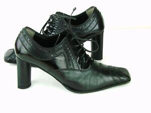Baldinini-LaceUp-Granny-Leather-Block-Heels-Pumps-Sz-US-8-EU-38-5-Black-w-Patent