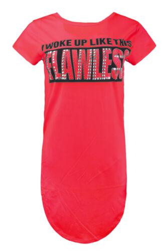 NEW Women T-Shirt FLAWLESS Woke Up Rhinestone Long Tailed Shirt Short Sleeve