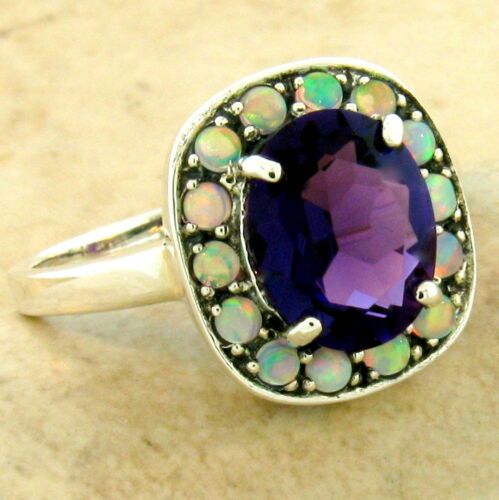 #1086 2.5 CT ART DECO 925 SILVER LAB AMETHYST OPAL ANTIQUE STYLE RING SIZE 7