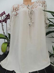 finest selection fb203 a18b7 Details zu Damen Bluse Größe 44 46 48 50 Übergröße Spitze Blumen Tunika  Blusen Shirt 110