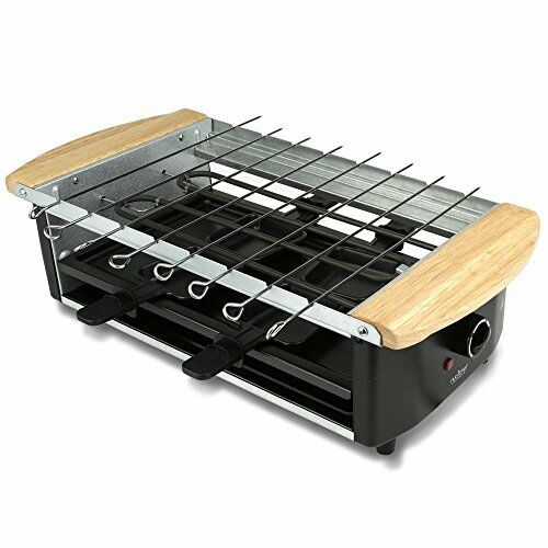 NutriChef Raclette Grill, Two-Tier Party Cooktop, Stone Plate & Metal Grill