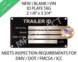 Details about BOAT TRAILER SERIAL NUMBER PLATE ID Data TAG VIN New Blank  License Registration