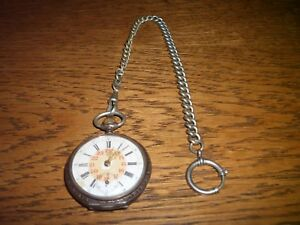 Antike Taschenuhr (nach 1888) - 800er Silber - 12/24 Stunden - mit Kette