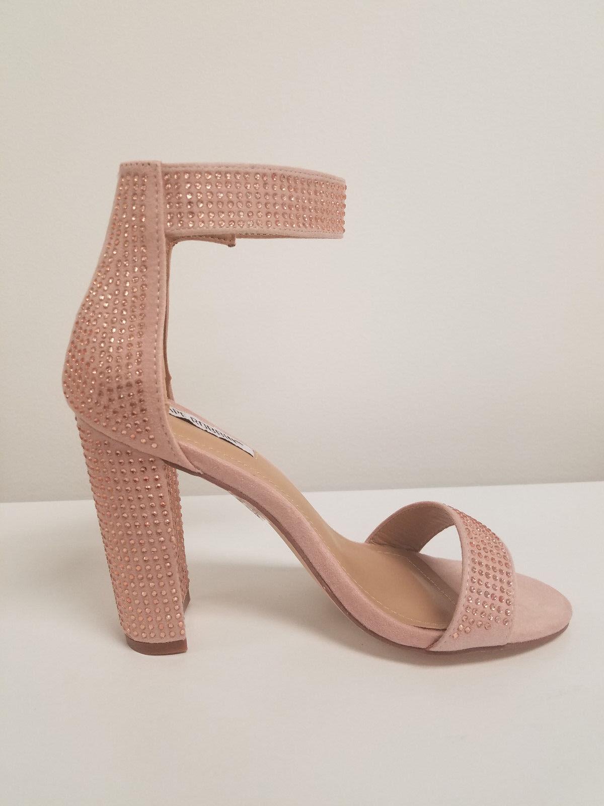 bluesh Pink Rhinestone Embellished Chunky Heels