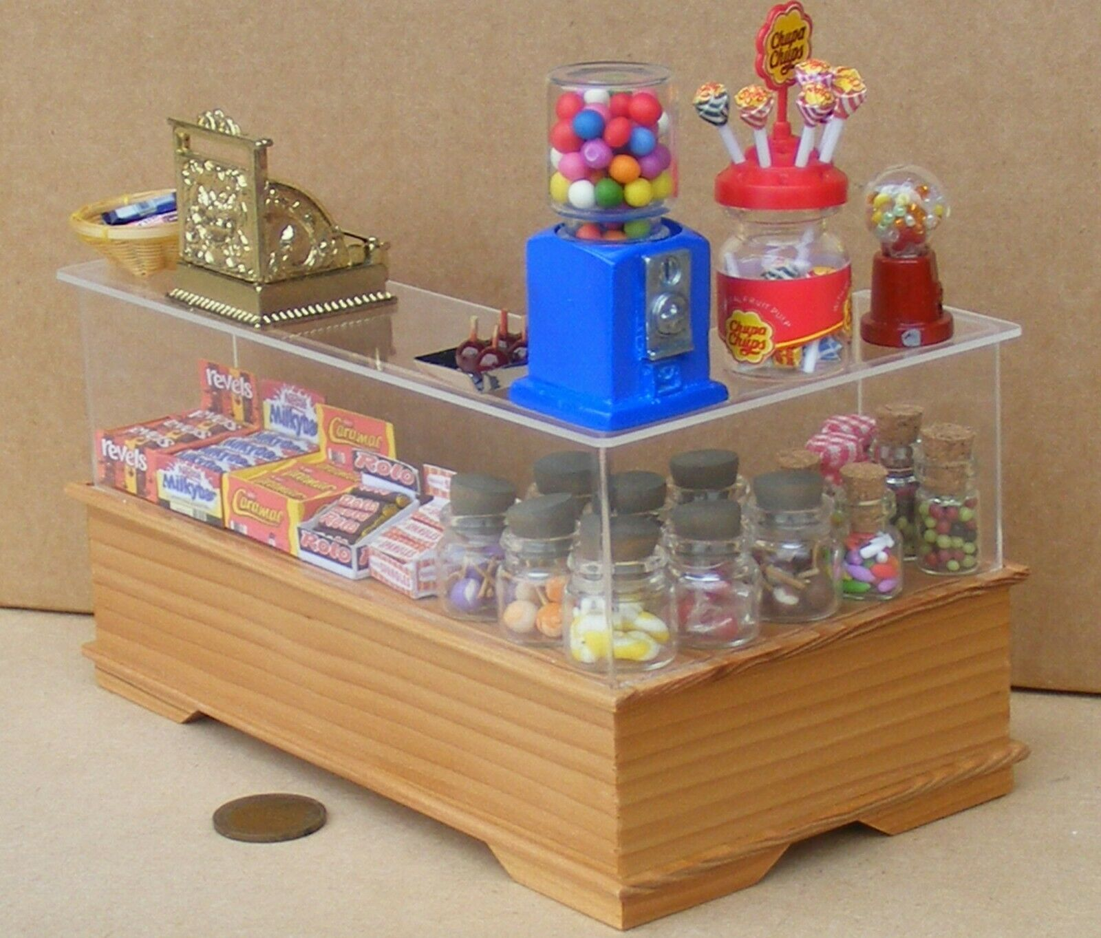 1 12 Maßstab Eiche Hell Bereit Sich Go Ladentheke mit Bonbons Tumdee Puppenhaus