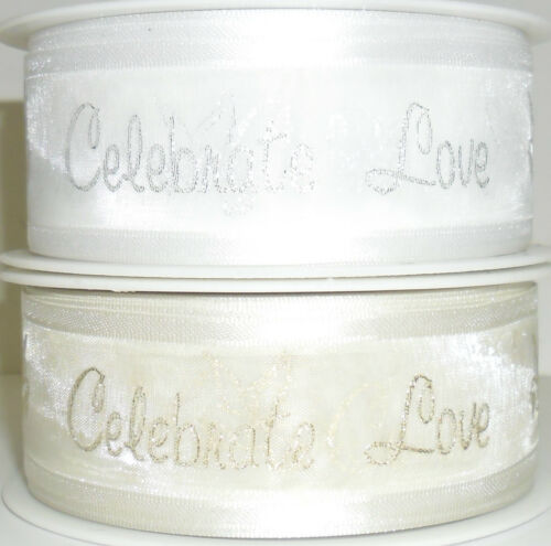 TOP QUALITY CELEBRATE LOVE BRIDAL SHEER RIBBON 30MM,5 MTRS GOLD//SILVER ART 54277