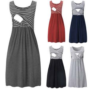 Women-Pregnancy-Maternity-Nursing-Summer-Stripe-Tunic-Tank-Vest-Sleeveless-Dress