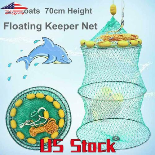 Fishing Net Floating Mesh Trap Shrimp Buoyancy Live Bait Keep Fish Cage Gear US