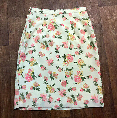 1980s Vintage Cream Rose Stampa Gonna A Tubino Crepe Tg Uk 10-