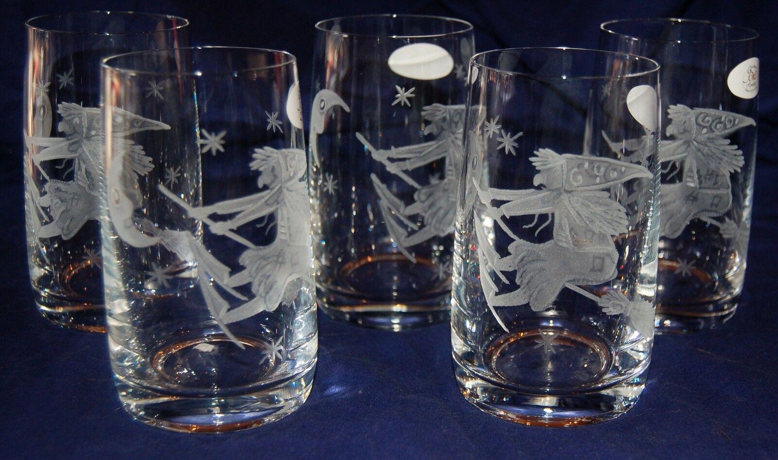 6 schöne Trinkgläser mit Hexen witch Helloween HANDGESCHLIFFEN