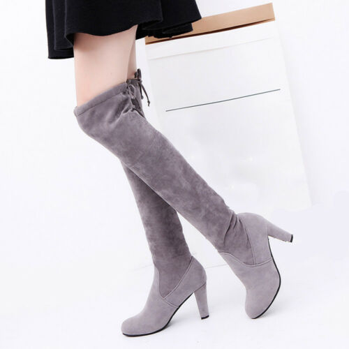 Winter Women Stretch Faux Slim High Boots Over The Knee Boots High Heels Shoes