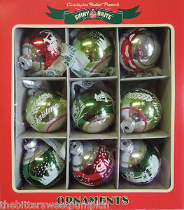 Christopher Radko Shiny Brite Vintage Collection Box Of 9 Ornaments Figurals