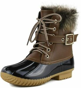 ShoBeautiful Womens Waterproof Rain Booties Duck Padded Mud Rubber Snow Lace Up Ankle Boots