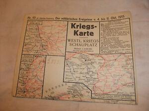 Diplomatisch A1 Kriegskarte Landkarte Chronik Kriegsschauplätze 1 1915 Wk Okt Weltkrieg 1
