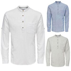 Herren-Leinenhemd-Baumwoll-Leinen-Mix-Hemd-Krempelarm-Freizeithemd-Weiss-Blau-NEU