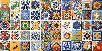 SET #005 contain 50 Mexican 2x2 Ceramic Tiles Handmade Talavera Clay Tile