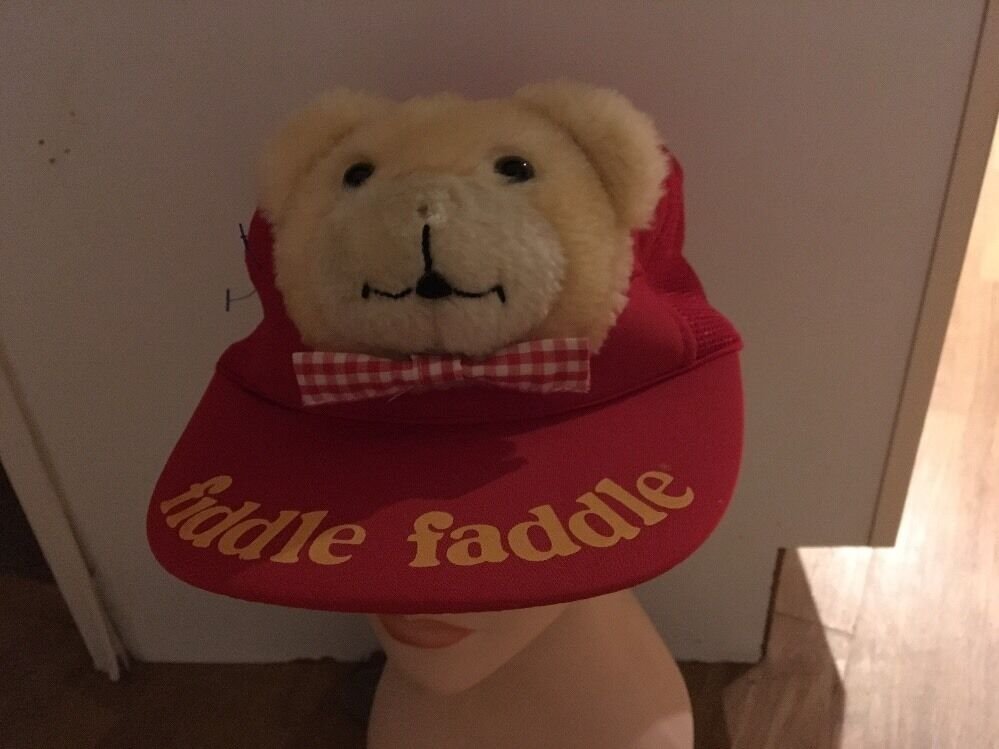 Vintage 1986 Fiddle Faddle Plush Teddy Bear trucker mesh popcorn hat Snap  Back b2a929d9728e