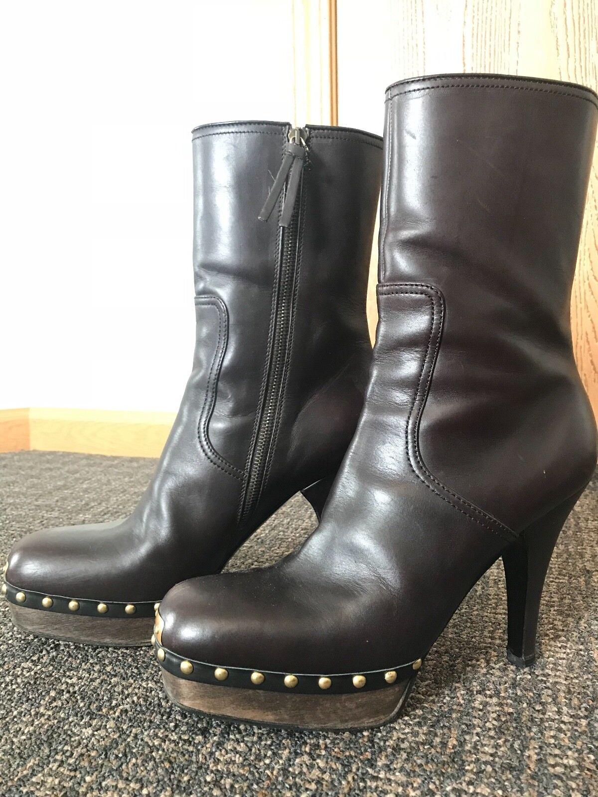 MIU MIU Old Calf Wood Leather Studded Boots Brown Womens Womens Womens Size EU 40   US 9.5 8f41a3