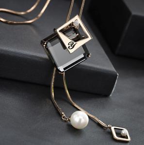 Damen-Halskette-Mode-Schmuck-Geschenk-Tochter-Mutter-Anhaenger-Gold-lange-Kette