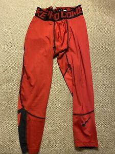 póngase en fila Matrona Espectador  Para hombres Nike Pro Combat Compression 3/4 Running Mallas Rojo Pequeño S  | eBay