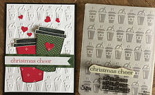 Stampin Up retired CHRISTMAS CHEER clear stamp & COFFEE CUPS Embossing folder