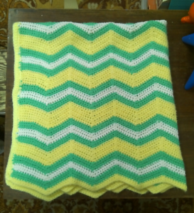 Hand Made Knit Crochet Baby Afghan Blanket Green Yellow White Zig