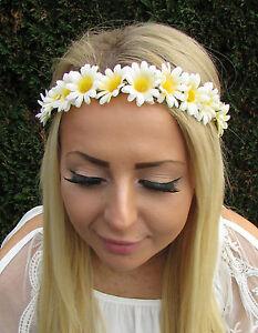 Blanc Creme Fleur Paquerette Bandeau Guirlande De Fleurs Cheveux