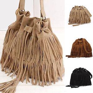 Image Is Loading Women Messenger Tassel Shoulder Bags Casual Drawstring Crossbody