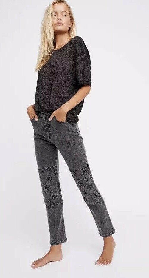 New Free People X Alyssa Less Patti Straight Embossed Slate Jeans 27  330 Rare