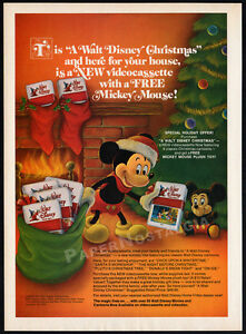 A-WALT-DISNEY-CHRISTMAS-Vintage-1983-print-AD-orig-video-promo-Mickey-Mouse