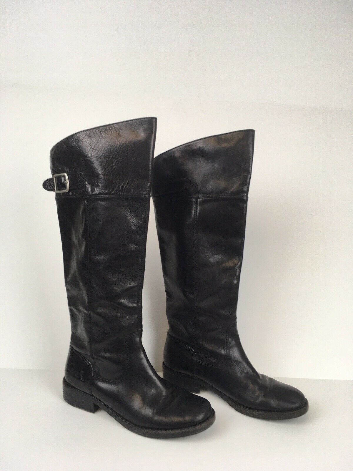 Coach Joele Black Leather Knee High Pull On Boots Women's Size 7B