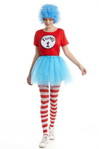 Mens Ladies Boys Girls Thing 1 Thing 2 3 4 Costume Dr Seuss Cat In The Hat Dress