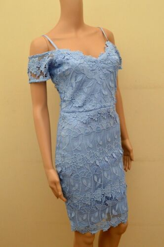 New Lipsy Lace Cold Shoulder Cornflower Blue Dress Sz UK 8 /& 16