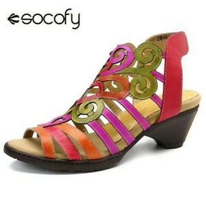 Socofy-Femme-Creux-Cuir-Veritable-Sandales-Talon-Bas-Souple-Crochet-Boucle-Shoes