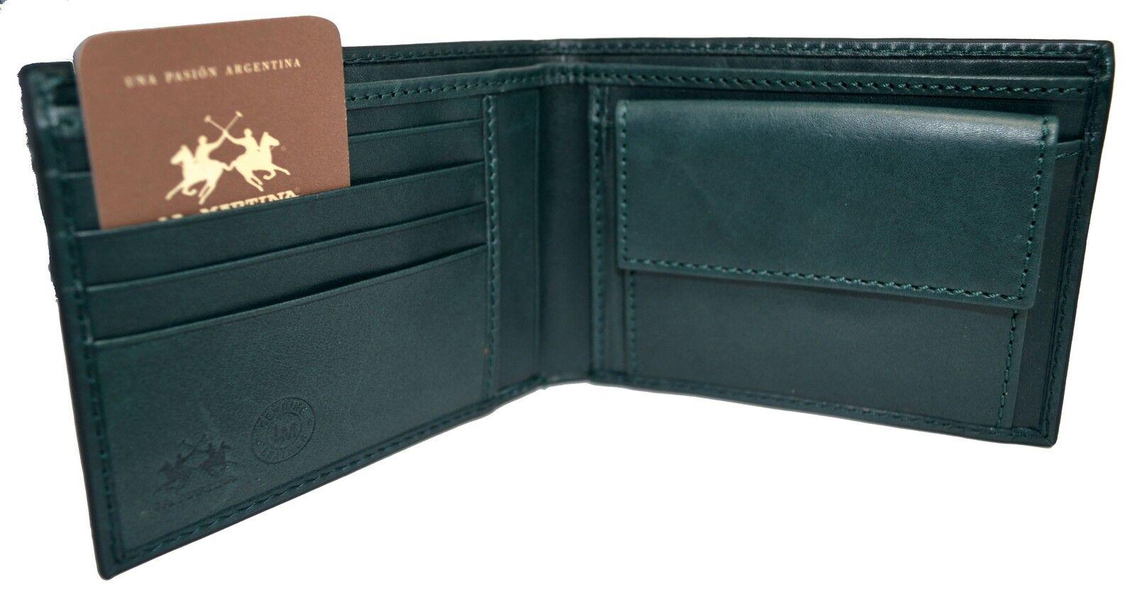 Portafoglio Pelle La Martina men  slots porta carte + portamonete Dark green 22