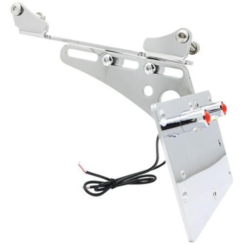Side Mount License Plate Bracket LED Number Light Lamp For Harley Iron 883 09-17