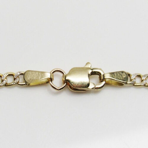 "10K Yellow Gold Mens Women/'s Diamond Cut 2MM Figaro Chain Bracelet 7/"" 8/"""