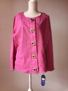 to buy promo codes affordable price Details about NWT Diane Gilman DG2 Hot Pink Jean Jacket with Gold Detail  Stretch Size 1X
