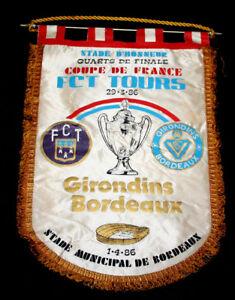 FOOTBALLGRAND-FANION-FC-TOURS-GIRONDINS-BORDEAUX-1-4-FINALE-COUPE-DE-FRANCE-1986