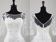 New Sheer Lace Wedding Top Bridal Bolero Jacket White/Ivory Size 2 4 6 8 10 12++