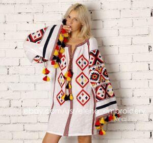 3f0ea26aab Image is loading Vyshyvanka-boho-embroidered-mexican-tunic-white -Bohemian-style-