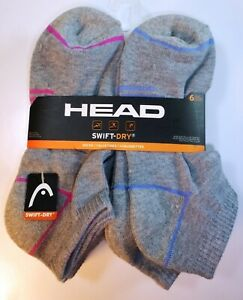 6-PAIRS-HEAD-SOCKS-WOMENS-GIRLS-MULTICOLOR-SWIFT-DRY-NO-SHOW-CUSHION-9-11-H151