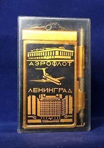 Vintage-Soviet-Russian-USSR-Souvenir-Metal-Notebook-amp-Pen-034-Aeroflot-Leningrad-034